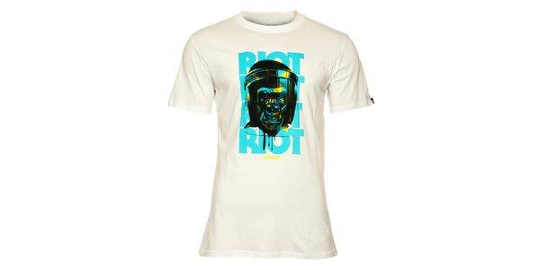 Pánské bílé tričko Fundango s černo-tyrkysovým potiskem gorily