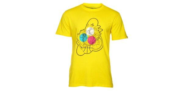 Pánské žluté tričko s potiskem Fundango