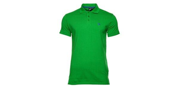 Pánské zelené bavlněné polo tričko s krátkým rukávem Fundango
