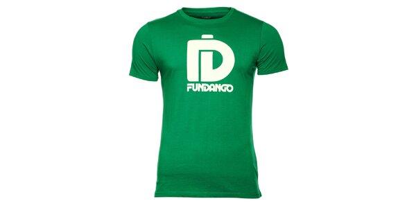 Pánské zelené tričko s krátkým rukávem a bílým potiskem Fundango