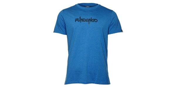 Pánské modré tričko s krátkým rukávem a černým potiskem Fundango