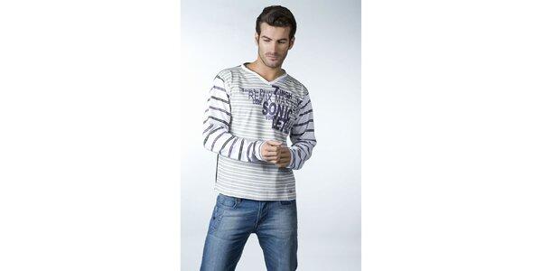 Pánské šedo-bílé proužkované tričko CLK