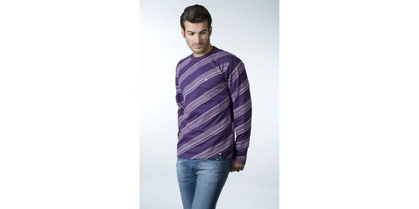 Pánské fialové tričko CLK se šikmými proužky