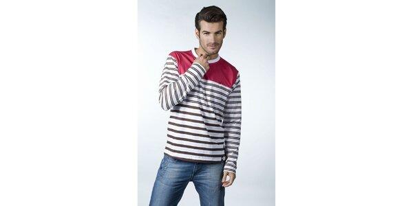 Pánské hnědo-bílé proužkované tričko CLK s červeným sedlem