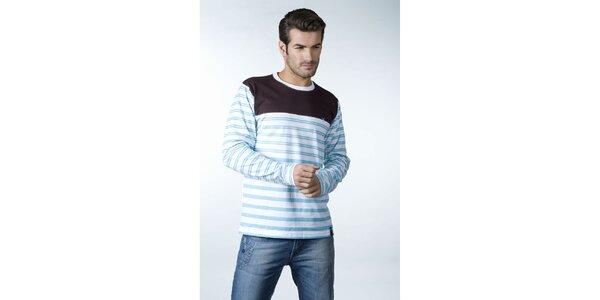 Pánské modro-bílé proužkované tričko CLK s hnědým sedlem