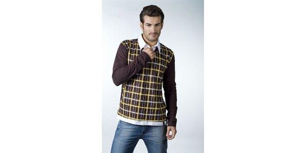 Pánské tmavě hnědé tričko CLK s kostkovaným vzorem a košilovým límečkem