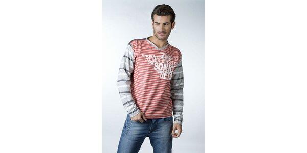 Pánské červeno-šedé proužkované tričko CLK