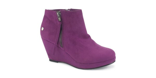 Dámské fialové semišové kotníčkové boty na platformě Blink
