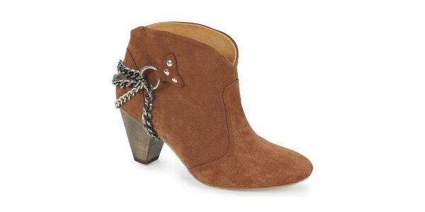 Dámské hnědo-oranžové kotníčkové boty s řetízky Blink