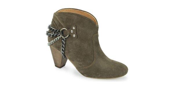 Dámské khaki kotníčkové boty s řetízky Blink