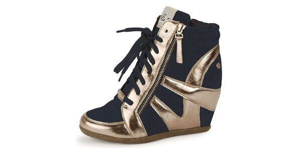 Dámské antracitově-zlaté futuristické kotníčkové boty Blink