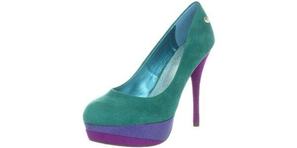 6175b1e9239 Dámské zeleno-fialové semišové lodičky na jehlovém podpatku Blink