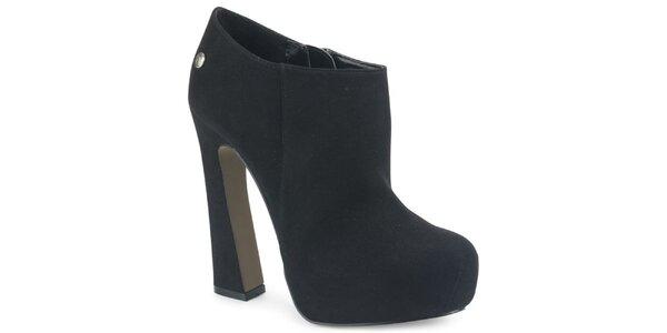 Dámské černé semišové kotníkové boty s atypickým podpatkem Blink
