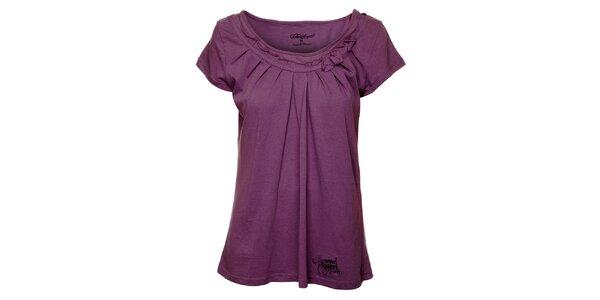 Dámské fialové tričko s řasením Fundango