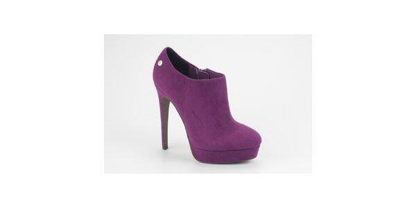 ffc55d0c46 Dámské fialové semišové kotníkové boty na jehlovém podpatku Blink