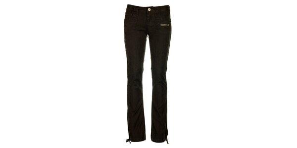 Dámské antracitové kalhoty Fundango s černým potiskem