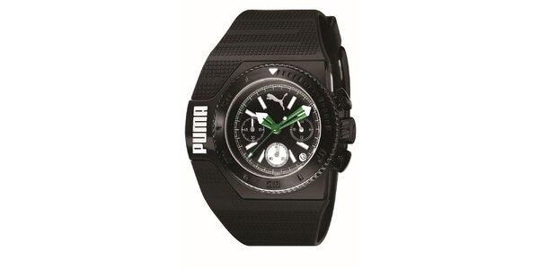 Pánské černé analogové hodinky se zelenými detaily Puma