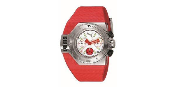 Červené analogové hodinky s bílými detaily Puma