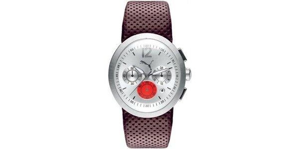Pánské hnědo-stříbrné analogové hodinky Puma 58ffea1752