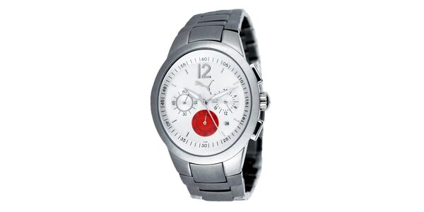 Pánské stříbrné analogové hodinky s červeným detailem Puma