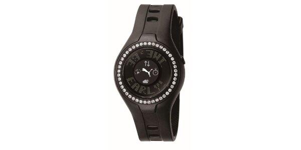 Dámské hnědé digitální hodinky s krystaly Puma