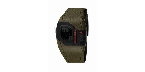 Pánské zelené digitální hodinky s červenými detaily Puma