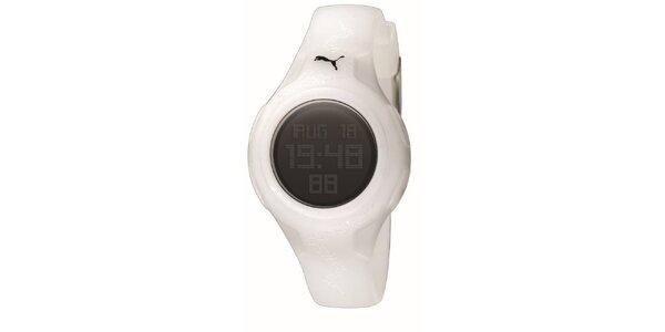 Bílé digitální hodinkys jemným vzorkem Puma