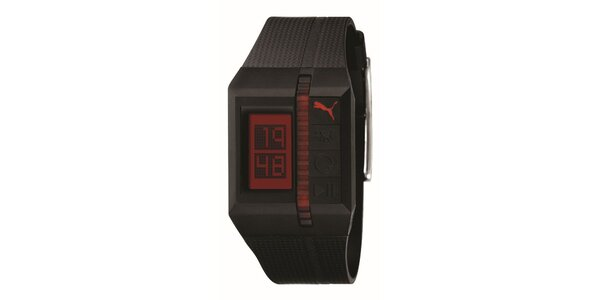 Tmavě fialové digitální hodinky s červenými detaily Puma