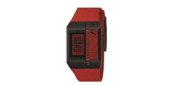 Pánské červeno-hnědé digitální hodinky Puma