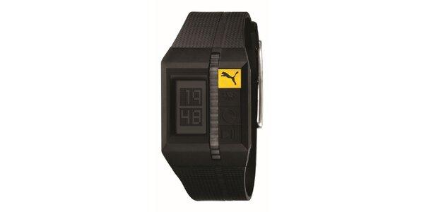 Pánské hnědé digitální hodinky se žlutým detailem Puma