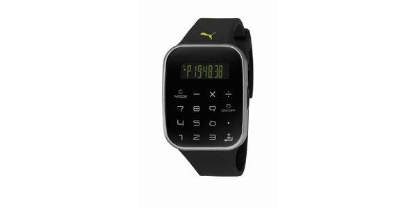 Černé digitální hodinky s klávesnicí Puma