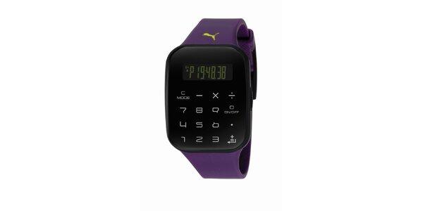 Černo-fialové digitální hodinky s klávesnicí Puma