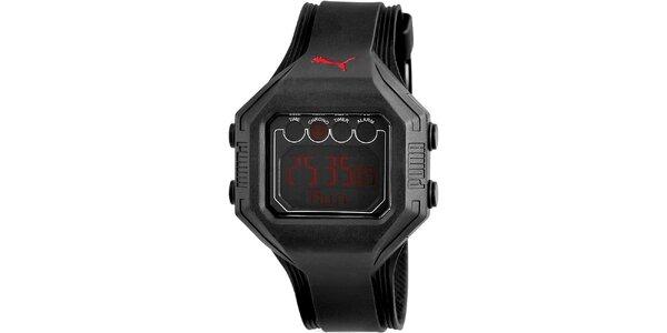 Pánské černé digitální hodinky červenými deatily Puma