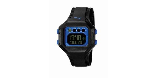 Pánské černo-modré digitální hodinky Puma