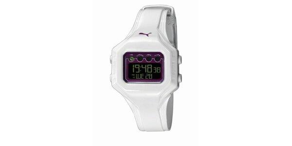Bílo-fialové digitální hodinky Puma