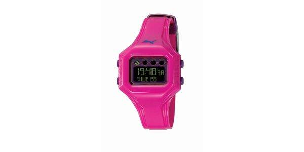 Růžové digitální hodinky s fialovými deatily Puma