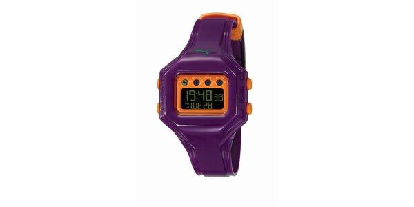 Fialovo-oranžové digitální hodinky Puma