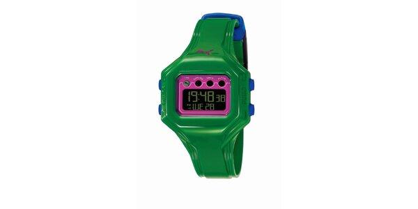 Zeleno-růžové digitální hodinky s modrými detaily Puma