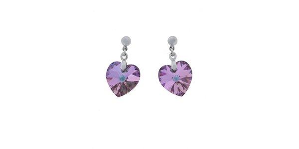 Náušnice Swarovski Elements srdce světle fialový krystal
