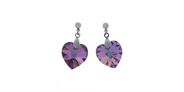 Náušnice Swarovski Elements srdce tmavě fialový krystal