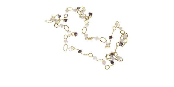 Dámský zlatý náhrdelník Arla s bílými a černými perlami