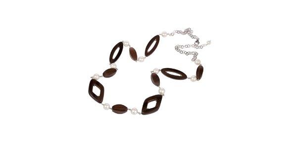 Dámský náhrdelník Arla s perlami a dřevěnými korálky