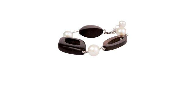 Dámský perlový náramek Arla s dřevěnými korálky