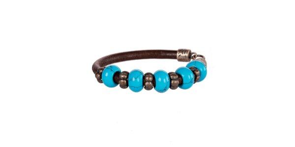 Dámský tmavě hnědý kožený náramek Arla s modrými korálky