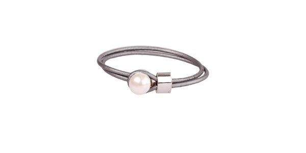Dámský stříbrný kožený náramek Arla s perlou