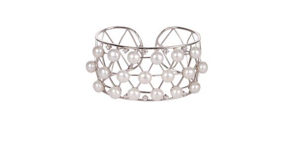 Dámský stříbrný náramek Arla s perlovými korálky a krystaly