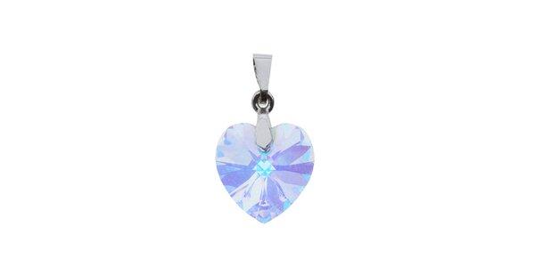 Přívěsek Swarovski Elements srdce čirý krystal s duhovými odlesky