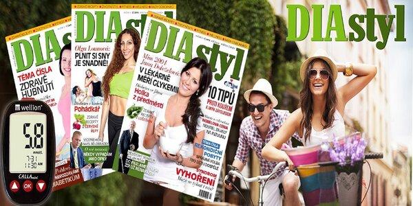 Časopis DIAstyl na rok, měřič cukru, kniha s DVD