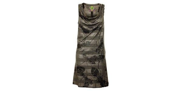 Dámské šedé pruhované šaty Custo Barcelona s potiskem