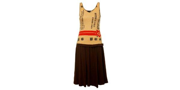 Dámské hnědo-béžové šaty Custo Barcelona s čínskými znaky